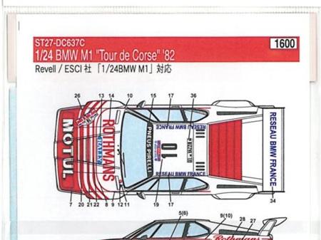 Studio27 1/24 BMW M1 Motul/Rothmans Tour de Corse 1982