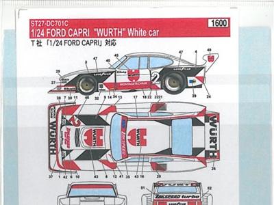 """Studio27 1/24 Capri """"Wurth"""" White Car"""