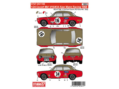 Studio27 1/24 Escort Mk1 16/34 Alan Mann Racing 1968 for BEL006 & BEL007