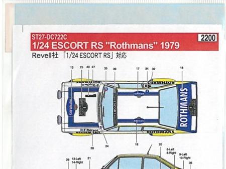 "Studio27 1/24 Escort RS ""Rothmans"" 1979"