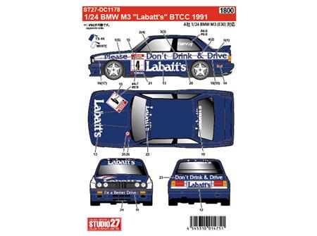 "Studio27 1/24 BMW M3 ""Labatt's"" BTCC 1991 for Aoshima/BEEMAX No.11"