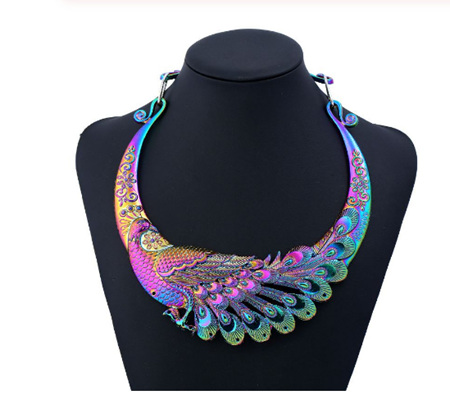 STUNNING PEACOCK MULTICOLOURED NECKLACE