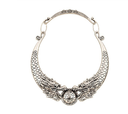 Stunning Silver Dragon Necklace