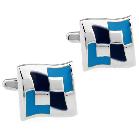 Stylish black, blue and silver cufflinks