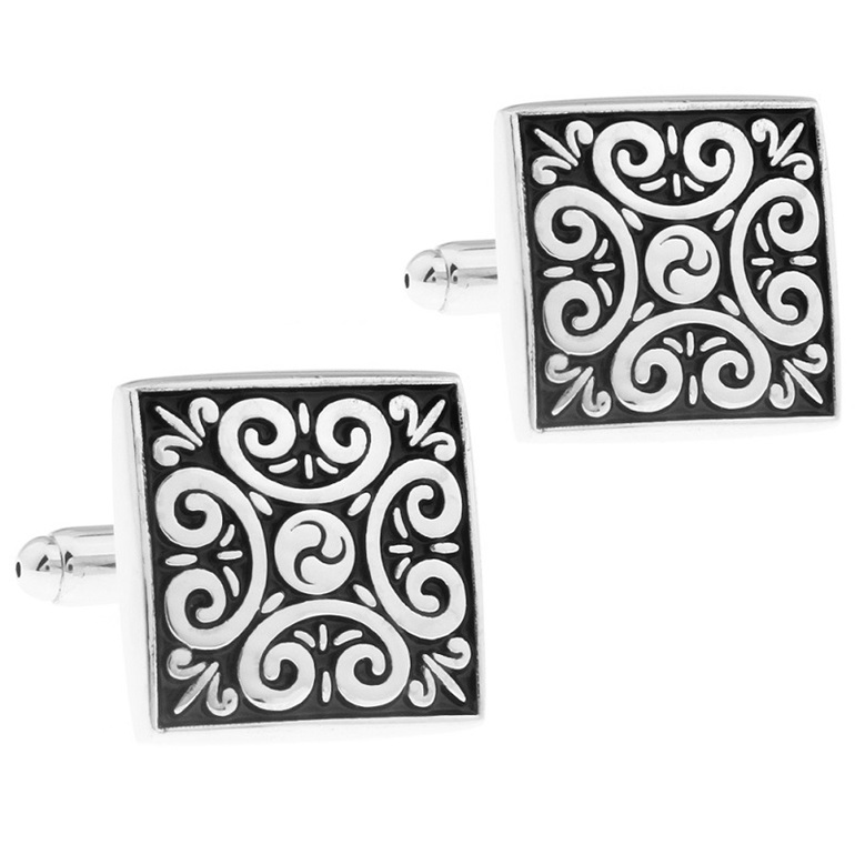 Stylish Silver and Black Cufflinks