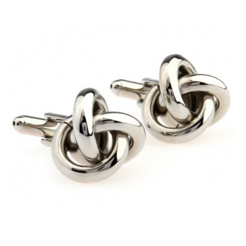 Stylish Silver Knot Cufflinks