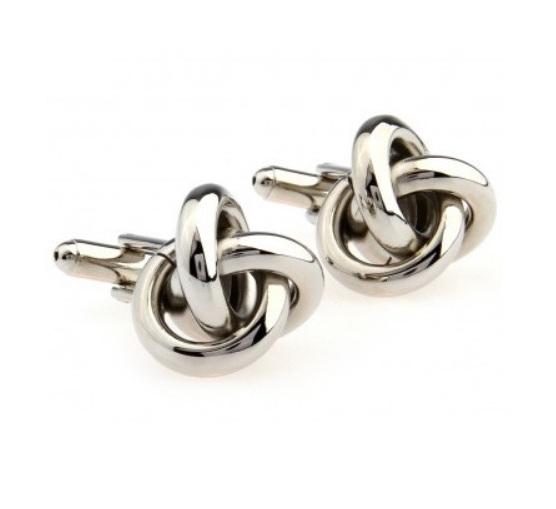 Stylish Silver Knot Cufflinks