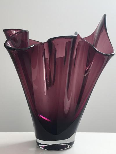 Stylish Vintage Amethyst Handkerchief Vase