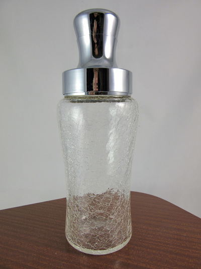 Stylish Vintage Crackled Glass and Chrome Cocktail Shaker