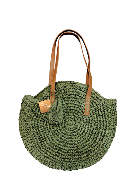 Suda Suzy Straw Round Bag (Olive)