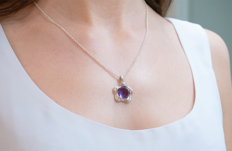 Suffrage 125 amethyst pendant by The Village Goldsmith & Te Puna Foundation