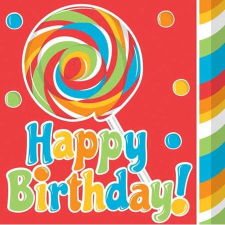 Sugar Buzz Lunch Napkins - Happy Birthday