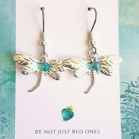SUMMER  -  Silver & Teal Dragonfly Earrings