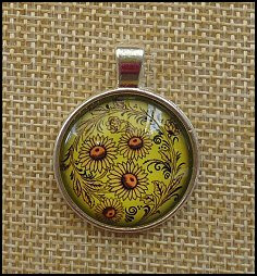 Sunflower Glass Dome Key Ring