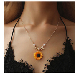Sunflower Necklace - Gold Chain