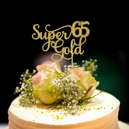 Super Gold 65 Cake Topper