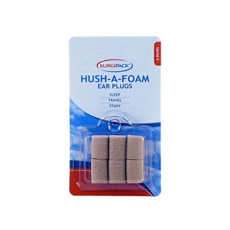 SurgiPack Hush-a-Foam Ear Plugs 3 Pairs