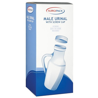 SURGIPACK MALE URINAL WITH HANDLE AND SCREW CAP
