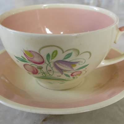 Large tea cup and saucer Dresden Sprays