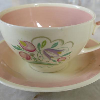 Large tea cup and saucer Dresden Sprays