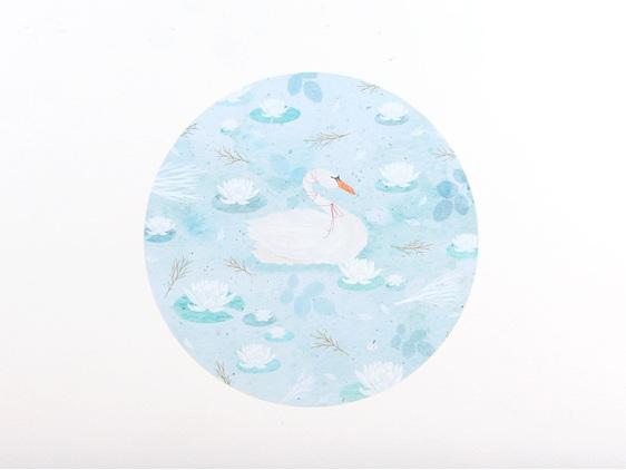 Swan Lake wall decal small