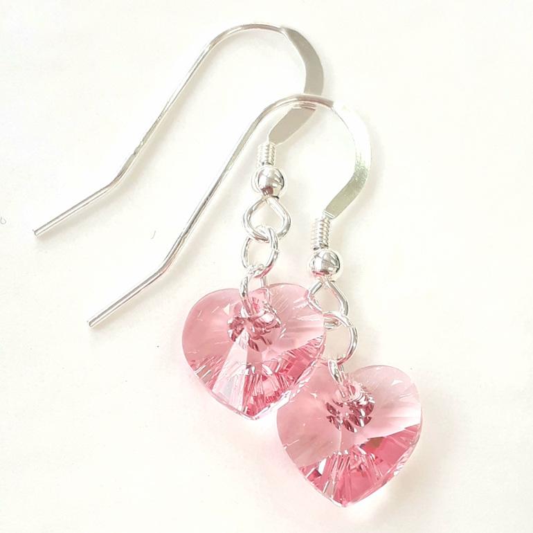 Swarovski Crystal Heart Earrings Light Rose