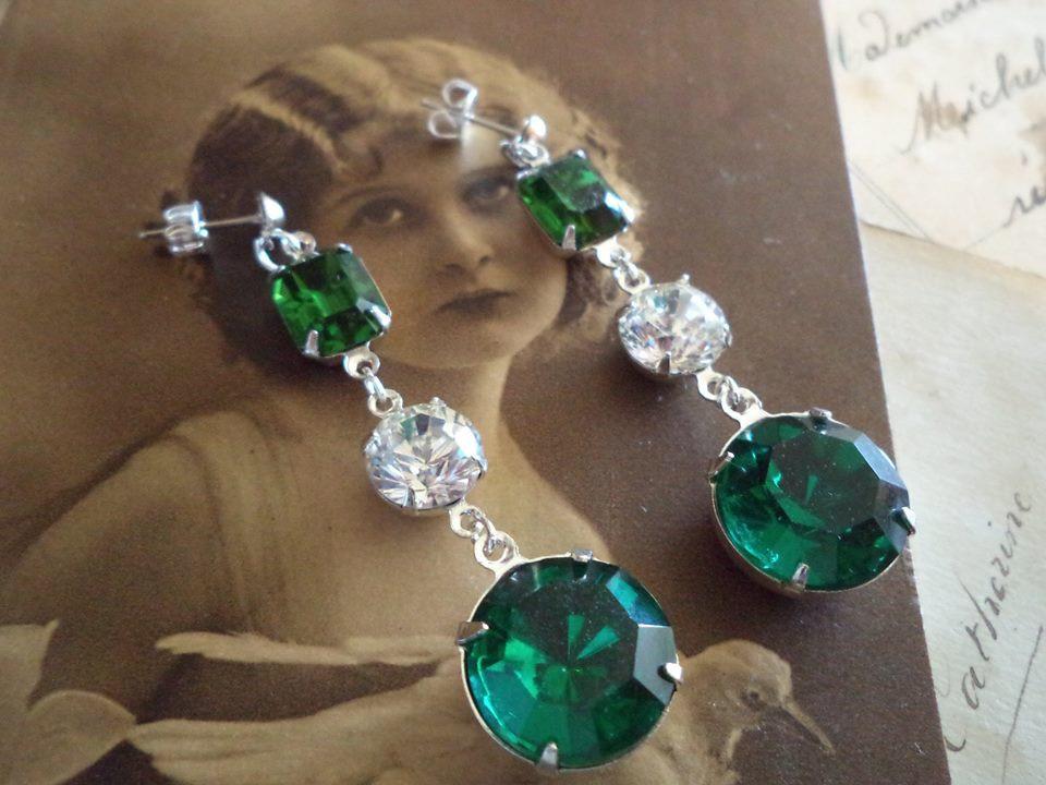 c13096a8eb471 Swarovski crystal turmaline green and vintage emerald rhinestone earrings