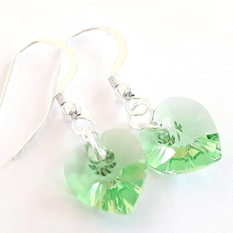 Swarovski Earrings Peridot Hearts