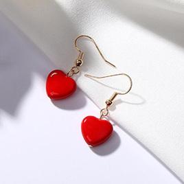 SWEET RED HEART DANGLE EARRINGS