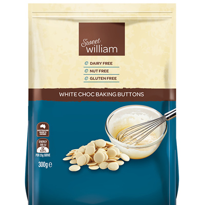 Sweet Williams White Choc Baking Buttons 300g