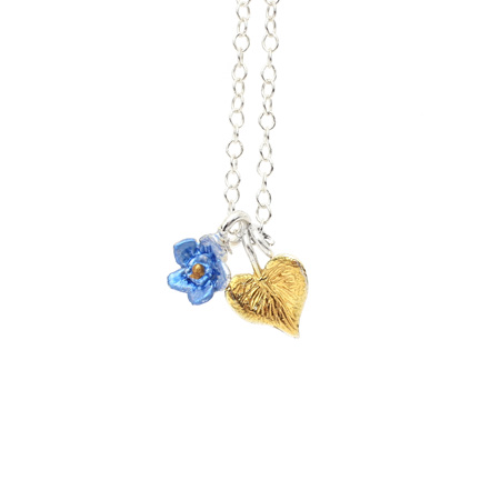 Sweetheart Forget Me Not Necklace (gold heart)