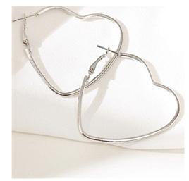 Sweetheart Large Heart Earrings - Silver colour