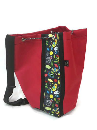 Swim bag - red with NZ bird print