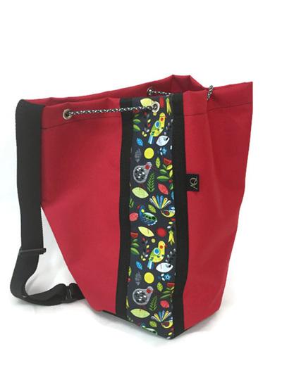 Swim bag - red with NZ bird print