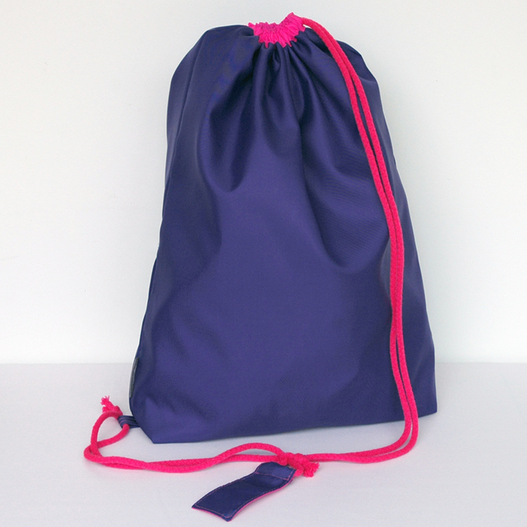 swim pouch - purple with bright pink cord - waterproof swim bag