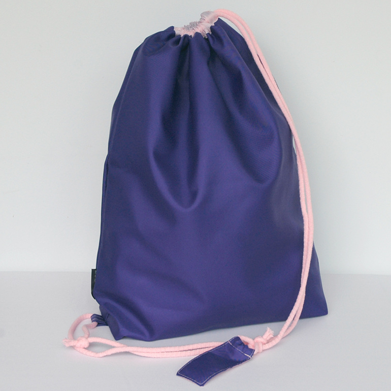 swim pouch - purple with light pink cord - waterproof swim bag