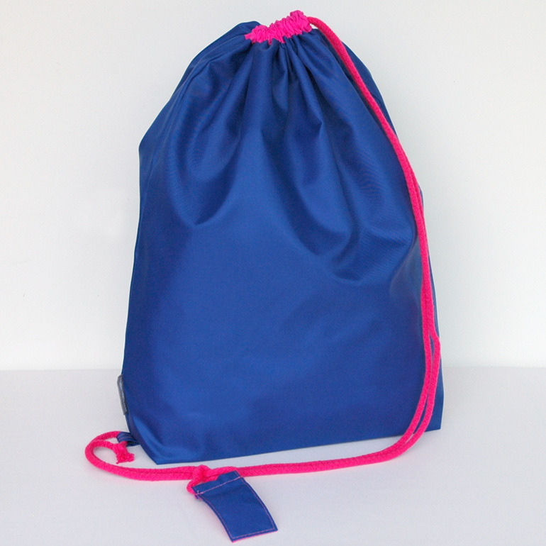swim pouch - royal with bright pink cord - waterproof swim bag
