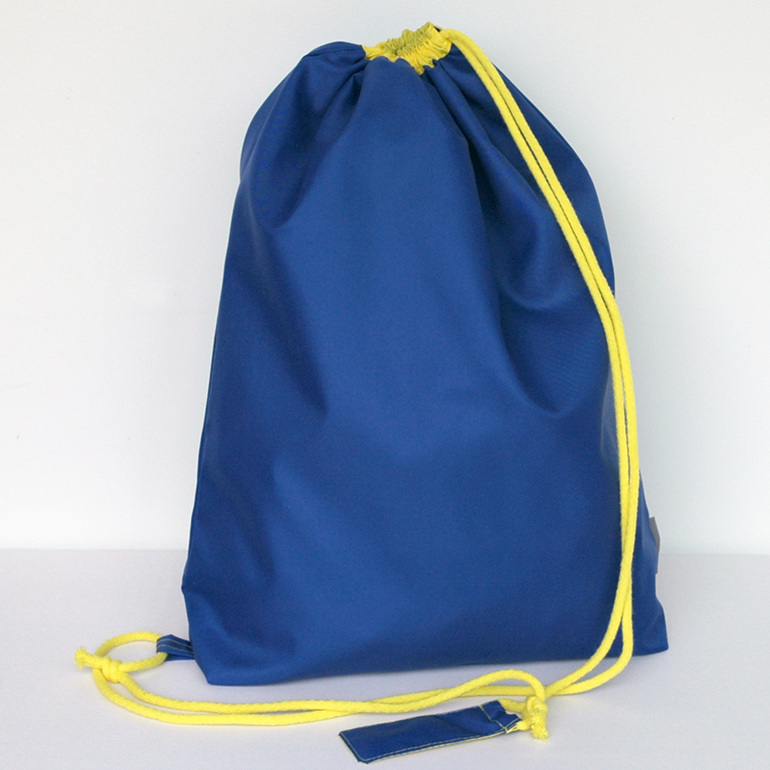 swim pouch - royal with yellow cord - waterproof swim bag