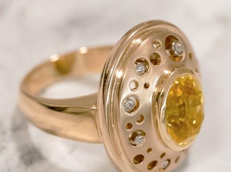 Swinging Sixties Inspired Yellow Sapphire Ring