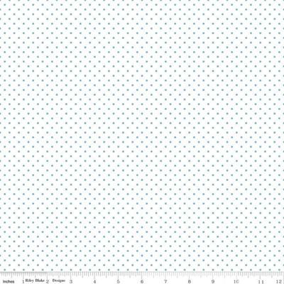 Swiss Dot on White Aqua C660A