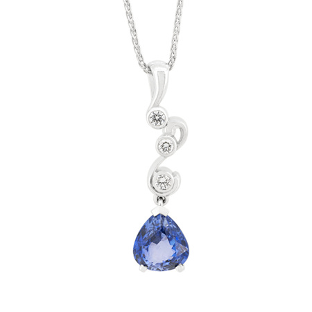 Swist: Blue Sapphire and Diamond Pendant