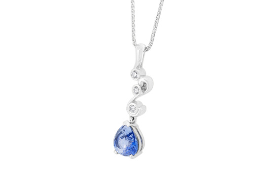 Swist Pendant - Pear Blue Sapphire and Diamond White Gold Pendant