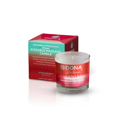DONA Kissable Massage Candle in Strawberry Souffle