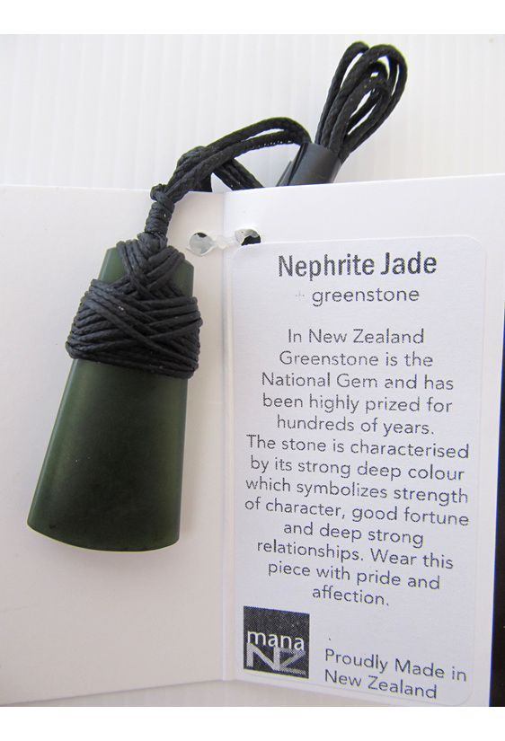 T210 Wedge shaped greenstone pendant  bound with black cord.