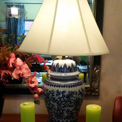 Table Lamp Blue & White Lotus with Cream Shade
