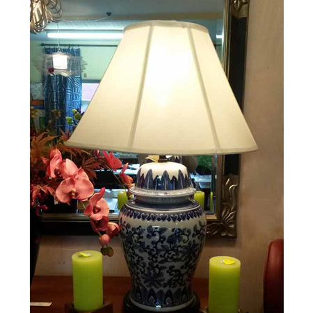 Table Lamp Blue & White Lotus with Cream Shade - $305