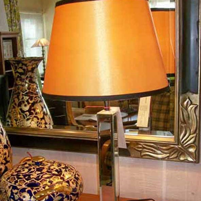 Table Lamp Mirror Stand with Gold Shade