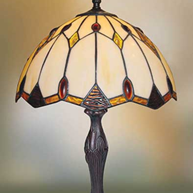 Table Lamp Tiffany Leadlight Amber Cream