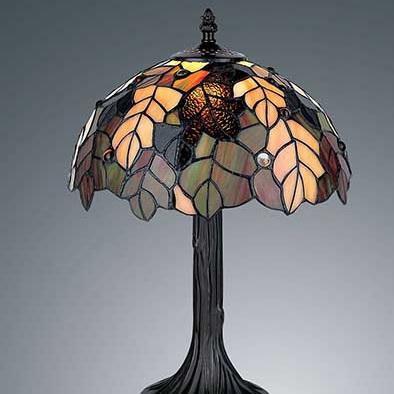 Table Lamp Tiffany Leadlight Autumn Leaves