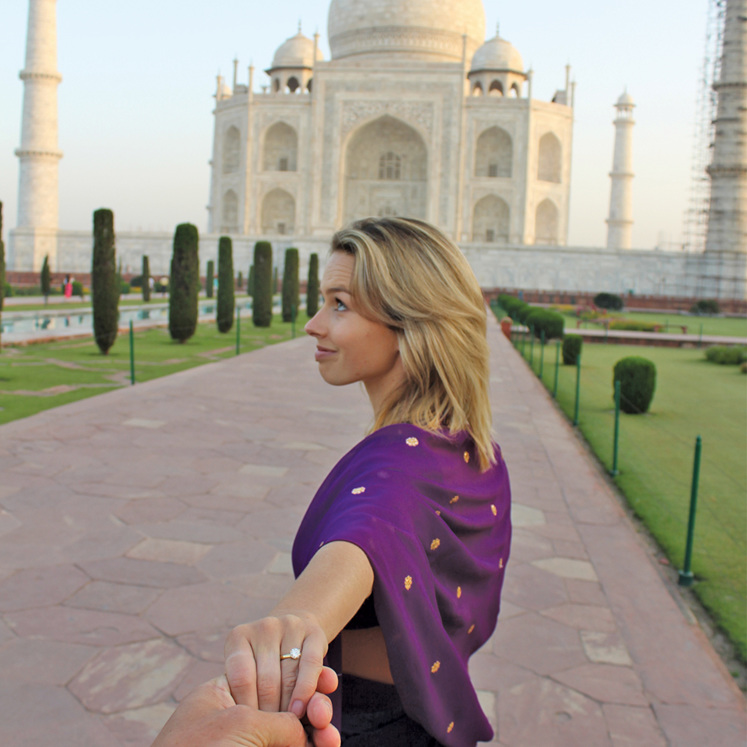 Taj Mahal engagement ring proposal travel India